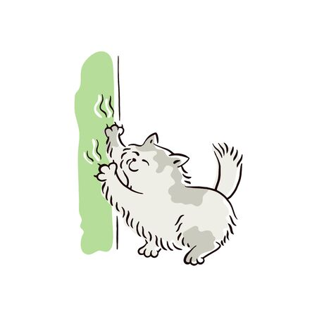 Banner with naughty playful cat scratching furniture or wallpaper sketch vector illustration isolated on white background. Bad behavior of domestic animal or pet.