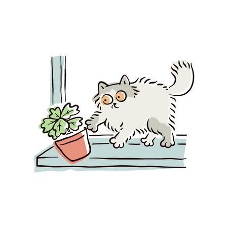 Cartoon cat pushing a flower pot off the window sill, funny naughty pet animal breaking things. Cute curious kitten drops an object to the floor - isolated hand drawn vector illustration