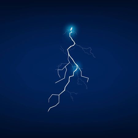 Stormy weather lightning flash effect or thunderbolt with magical gleaming halo realistic vector illustration isolated on dark background. Electricity discharge.