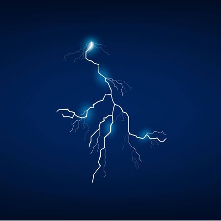 Dramatic lightning bold isolated on dark blue background, night storm energy symbol with dangerous electric glow and realistic line shape - vector illustratoin Foto de archivo - 128948079