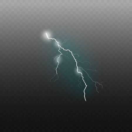 Lightning sparkling flash effect or glowing thunderbolt 3d realistic vector illustration isolated on transparent background. Electricity charge and power symbol. Illustration