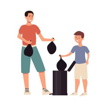 Homme et fils sortant des ordures dans des sacs en plastique, deux personnages de dessins animés masculins jetant des ordures dans une poubelle, famille faisant des corvées ensemble, illustration vectorielle plane isolée
