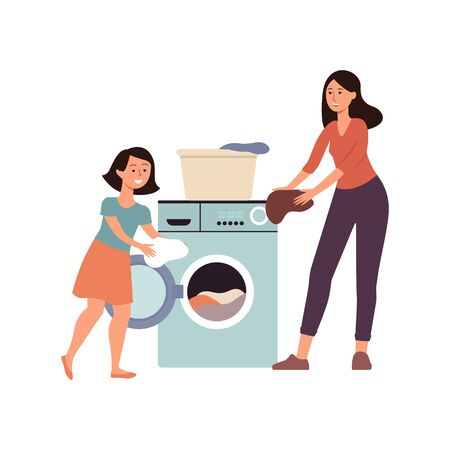 Family scene a daughter helping her mother at home flat cartoon vector illustration isolated on white background. Home cleaning and housekeeping concept icon.  イラスト・ベクター素材