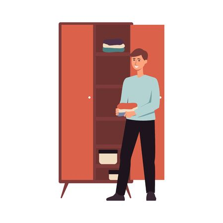 Happy man organising clothes in a closet, young male cartoon character standing beside wardrobe with folded shirts, housework and home cleaning process - isolated flat vector illustration