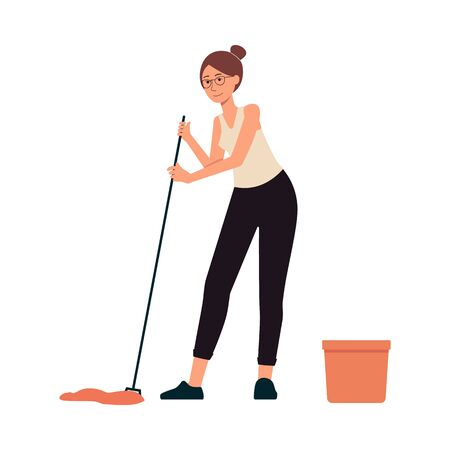 Woman washes floor with mop and bucket cartoon character at home flat vector illustration isolated on white background. Home cleaning and housekeeping concept element.