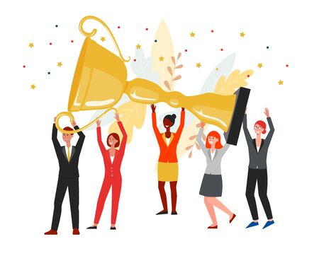 Team of colleagues holding giant golden cup trophy and celebrating goal achievement flat vector illustration isolated on white background. Teamwork award banner.