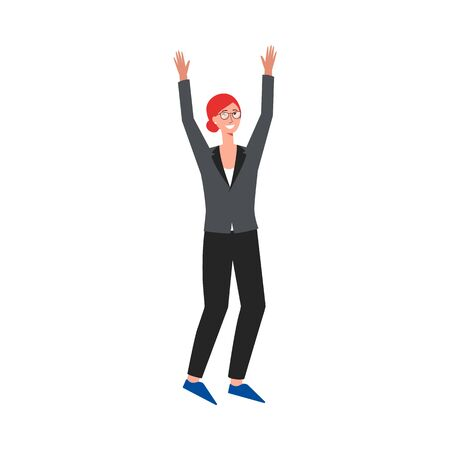 Business woman in suit rising her hands up and cheering cartoon flat vector character illustration isolated on white background. Success and award in work concept image.  イラスト・ベクター素材