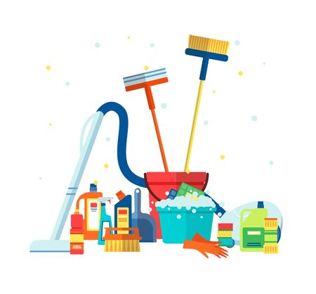 House cleaning tools and products such as a vacuum cleaner and brushes flat vector illustration isolated on white background. Household tool elements bottles and packs.