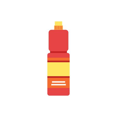 Household cleaning detergent bottle - red and yellow flat icon of chemical cleaner product with blank label and closed cap. Isolated cartoon vector illustration. Çizim