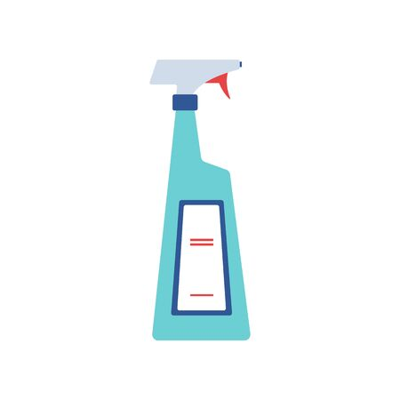 Blue house cleaning spray bottle - flat isolated icon on white background. Chemical disinfectant liquid soap for windows with blank label - vector illustration Çizim