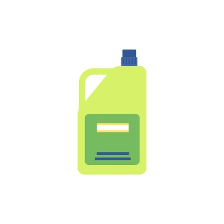 A bottle or container with house cleaning product icon flat vector illustration isolated on white background. Householding element the liquid soap or detergent. Çizim