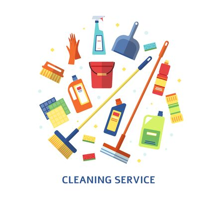 Cleaning service color or branding element with housekeeping cleaning tools and products placed in a circle the flat vector illustration isolated on white background.