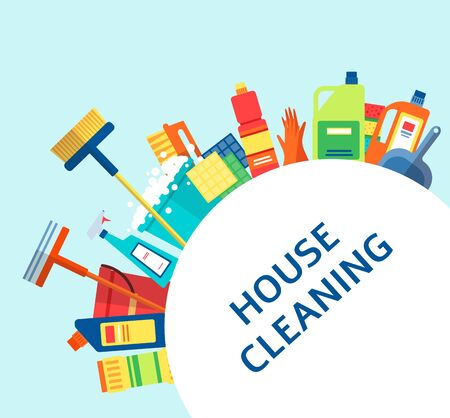 House cleaning banner - colorful housework supplies arranged around a circle with text template, household cleanup service ad - flat cartoon vector illustration