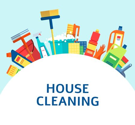 House cleaning tools and products in a banner or flyer, brochure template for cleaning service flat vector illustration. Household equipment with spray and soap bottles. Çizim