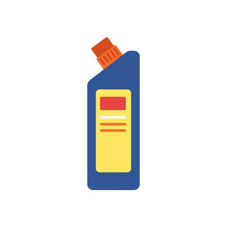 Cleaning chemical liquid container icon - blue plastic bottle with diagonal cut and closed cap isolated on white background, flat cartoon vector illustration Stock Illustratie