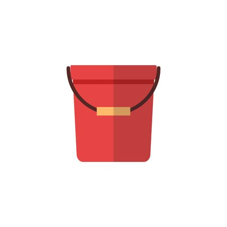 Red bucket icon with yellow handle - flat cartoon plastic pail container isolated on white background, simple household cleaning object vector illustration Banque d'images - 128948102