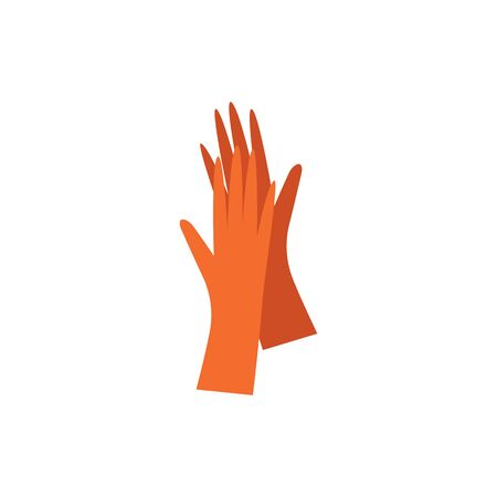 Rubber latex gloves for hand protection during house work, orange hand drawn pair of safety gloves isolated on white background - flat vector illustration Illustration
