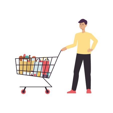 Cartoon man standing with shopping cart full of food - isolated character posing and smiling at grocery store - vector illustration on white background Illustration