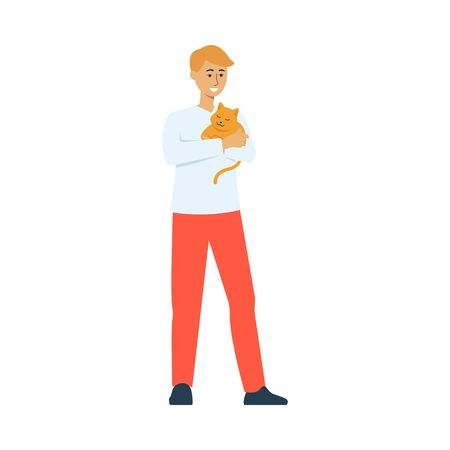 Happy cartoon man holding a sleeping cat - cute orange kitten asleep on his owners arms. Isolated flat hand drawn vector illustration on white background.