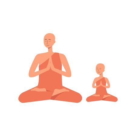 Family professes Buddhism - a man and his child boy in a meditative pose flat vector illustration isolated on white background. Multicultural and multireligious concept. Illustration