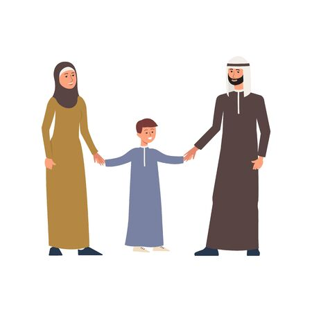 Cartoon arab or muslim family people characters in national cloth flat vector illustration isolated on white background. Happy saudi or emirates parents with teen boy.