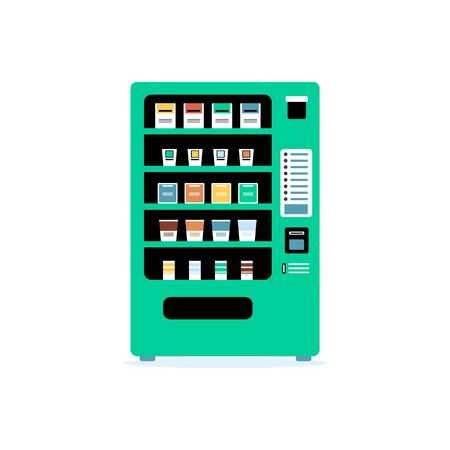Teal green vending machine - flat isolated vector illustration. Front view of colorful automatic snack food dispenser with drinks and snacks on different shelves.