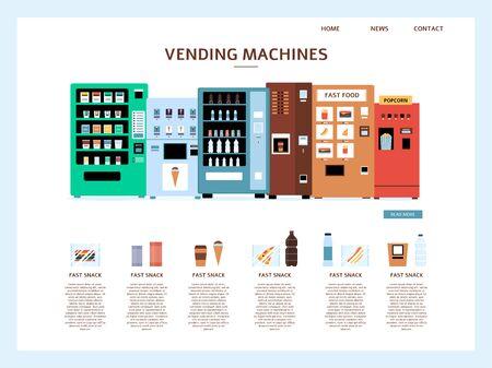 Bestemmingspagina van zakelijke website ontwerpsjabloon met automatische automaat instellen vectorillustratie geïsoleerd op een witte achtergrond. Fast food retail webpagina concept.