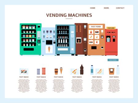 Landing page of business website design template with automatic vending machine set vector illustration isolated on white background. Fast food retail web page concept.