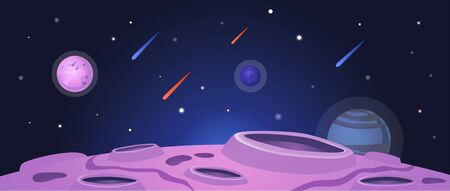 Cartoon space banner with purple planet surface with craters on night galaxy sky background with falling meteor rain - colorful vector illustration