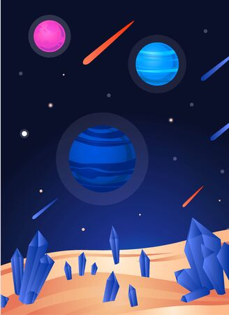 Space landscape poster - colorful view from sand planet with blue crystals to dark galaxy night sky with planets and asteroid-meteor shower. Vector illustration