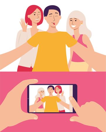 Smartphone screen with photo of friends and group of young people taking selfie the flat vector illustration. Communication mobile technology and modern lifestyle concept.