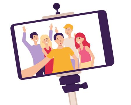 Mobile phone screen on a selfie stick with a photo of smiling people the flat cartoon vector illustration isolated on white background. Communication and lifestyle concept.