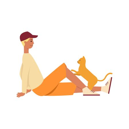 Cute cartoon cat playing with its owner - isolated man sitting on the floor smiling at his pet kitten. Domestic animal play time - flat vector illustration Illustration