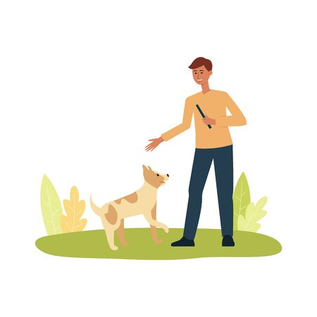 Happy cheerful man playing with the dog pet flat cartoon vector illustration isolated on white background. People and animals friendship and pets care concept.