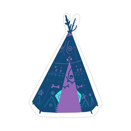 Dibujo étnico wigwam azul y púrpura aislado sobre fondo blanco.
