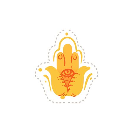 Etnic tribal symbol of yellow hand with eye in the middle Illustration