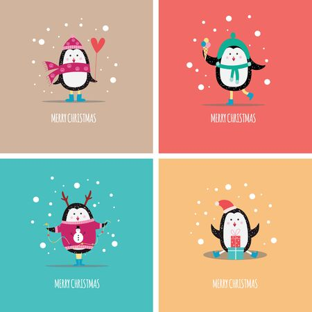 A set of Christmas greeting cards with funny winter penguins in hats, sweaters and gifts. Set of vector flat cartoons illustrations with christmas penguins. Illustration