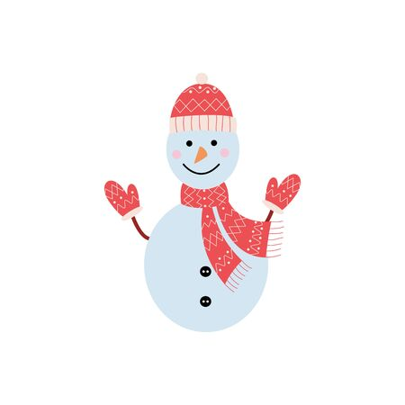 Cute funny Christmas and holiday snowman in hat, scarf and mittens smiling, isolated flat vector illustration in cartoon style for greeting cards. Stock Illustratie