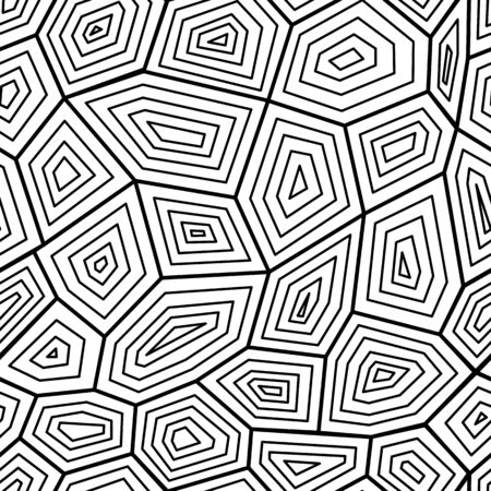 Modèle sans couture graphique noir et blanc la texture de la carapace de tortue, illustration vectorielle. Tortue géométrique élégant orné d'imprimés textiles et d'arrière-plans.