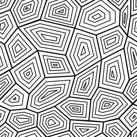 Patrón transparente gráfico blanco y negro la textura de caparazón de tortuga, ilustración vectorial. Tortuga geométrica adornada con estilo para estampados textiles y fondos.