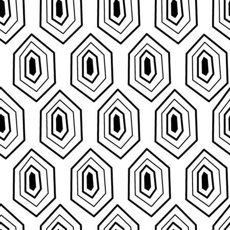 Seamless pattern with monochrome ornament of turtle shell. Background with turtle shell pattern for textile and fabric. Isolated vector illustration. Çizim