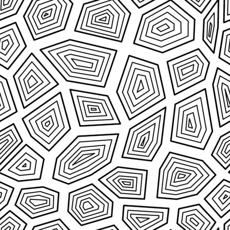 Black and white turtle shell inspired geometric background - seamless pattern for coloring book made of random triangle and hexagon shapes, flat vector illustration