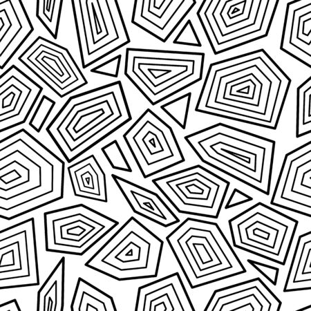 Black and white seamless pattern with random geometric shapes with sharp corners, coloring book background with abstract tiles inspired by turtle shell - isolated vector illustration