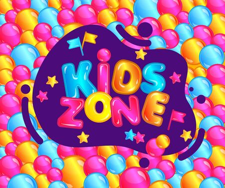 Kids zone lettering and text of a pool with glossy balls and fun flags and stars for banner of game room, zone and playground. Cartoon vector illustration of kids room. Иллюстрация