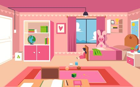 Little girl bedroom - interior design of a kid room with pink furniture, modern child space with toys, bookshelf, study desk and colorful carpet - flat vector illustration