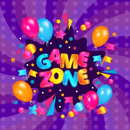 Game zone banner for children play area, colorful label design with balloons, confetti explosion and flags on fun purple background, kids playground sign vector illustration Standard-Bild - 129267711