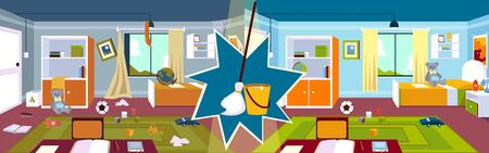 Interior of the kids room in the home with a carpet and a window, furniture and a bed before and after cleaning with mop and bucket in a cartoon style. Vector illustration of a kids room.
