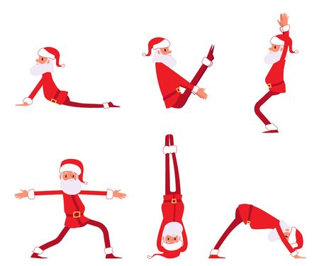 Set of Santa Claus doing yoga exercises cartoon style, vector illustration isolated on white background. Male Christmas character standing and sitting in various sports yoga poses