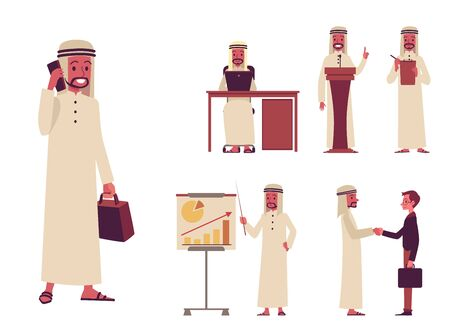 Set of male Arab oriental characters of businessmen with a phone and laptop, presentation, negotiations and business partnership. Set of arab man businessmen, flat cartoon style, vector illustration.