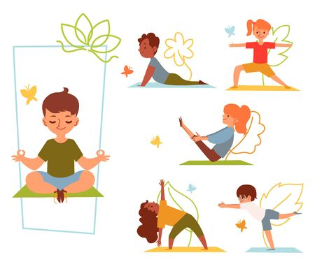 A set of kids and children doing yoga in various poses and stretching or fitness exercises on mat. Kids girls and boys do yoga asanas for health. Isolated flat cartoon vector illustration.